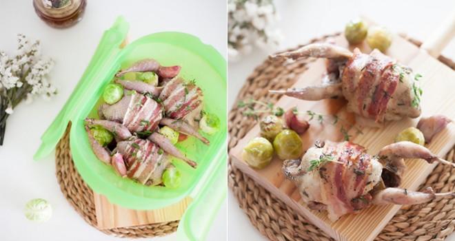 Codornices al Moscatel con bacon y bruselas